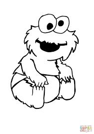 baby cookie monster sitting coloring page free printable