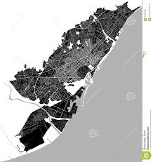 Map Of Barcelona Map Of The City Center Of Barcelona Spain Stock Vector Image