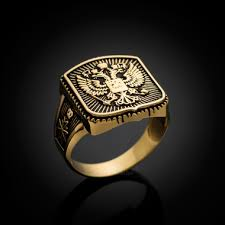 mens gold ring gold russian imperial crest headed eagle mens orthodox ring