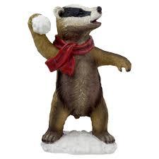 barry the 34cm snowball throwing badger garden ornament