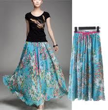 2014 bohemian skirts floral patterns chiffon maxi beach long women