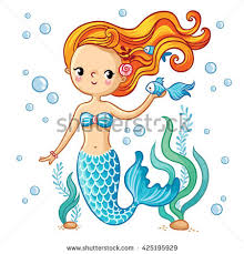 sea collection mermaid cute swimming cartoon stock vector