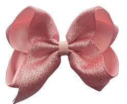 big ribbon shimmer light pink hair bow big bow bowsruswholesale
