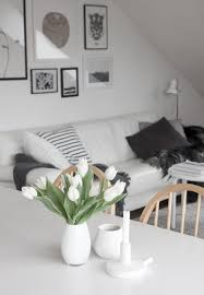 decordots white tulips monochrome scandinavian living room