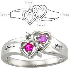 sterling silver amour promise ring with 2 genuine birthstones