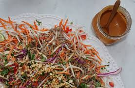 soba noodle salad with asian peanut sauce for a digestive peace