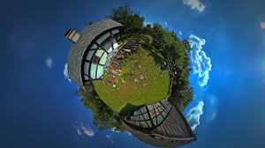 house planet little tiny planet 360 degree man pieces of wood in courtyard of