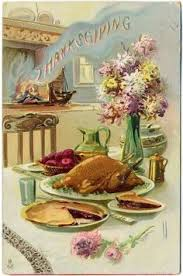 thanksgiving postcard c 1908 a black cat sits in front of the