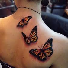 back three butterfly tattoos