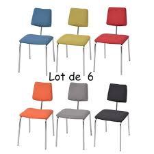 chaises color es lot de 6 chaises de salle à manger colorés multicolore en acier