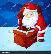 vector illustration santa claus peeping through stock vector