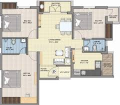 1250 sq ft 3 bhk floor plan image jasmine hariharan flats