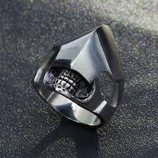 steel rings large images Super cool alien skull ring stainless titanium steel large rings jpg