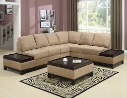 wood trim sofa mocha padded suede modern sectional sofa w dark wood trim