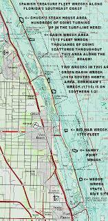 florida shipwrecks map 1715 fleet treasure on any given within a 10 mile
