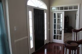 decorating appealing brown house entrance door with gray wall