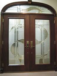 wood and glass exterior doors double front door for home made of dark wood and stunning frosted