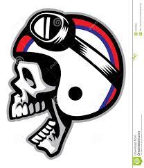 skull motocross helmet skull wearing old style of motorcycle helmet stock vector image