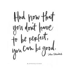 And now that you don t have to be perfect you can be good