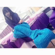 soft handmade knitted mermaid tail blanket lovely warm sofa tv