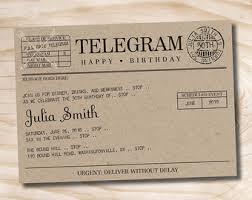 happy birthday telegrams telegram invitation etsy