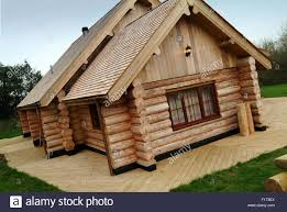 log house a large modern wooden log house in somerset uk stock photo 86822930