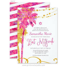 bas mitzvah invitations pink gold watercolor bat mitzvah invitations print creek