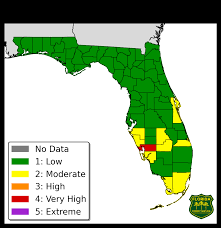Where Is Destin Florida On The Map Florida Forest Service Fire Danger Index Map And Report