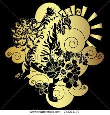 golden japanese tiger flower vector illustration stock vector