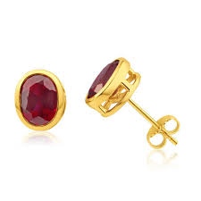 ruby stud earrings yellow gold ruby stud earrings manik ki baali
