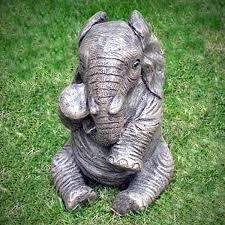 baby elephant garden statues