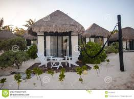tropical beach house on ocean shore among palm royalty free stock