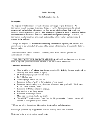 Public Speaker Resume Sample Free by Public Speaking Informative Speech Directions