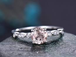 real promise rings images Round morganite engagement ring handmade solid 14k white gold ring jpg