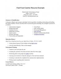 Sample Fast Food Resume by Resume For Fast Food Cashier Samples Of Resumes