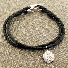 sterling silver leather bracelet images Sterling silver st christopher mens leather wrap two strand bracelet jpg