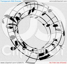 clipart of a black and white music note circle design element