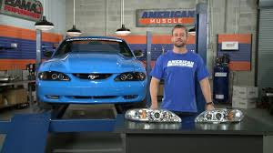 1994 mustang gt headlights mustang raxiom smoked and chrome projector headlights halo 94