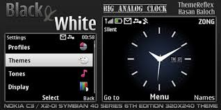 theme clock black white clock theme for nokia c3 x2 01 themereflex