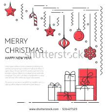 Happy New Year Business Card Christmas New Year Horizontal Banner Fireplacegifts Stock Vector