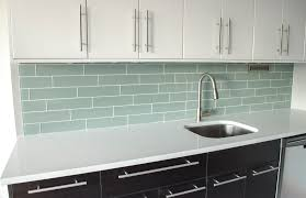 kitchen grey glass subway tile kitchen backsplash with white