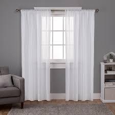 Winter Window Curtains Santos Winter White Embellished Stripe Textured Linen Sheer Rod