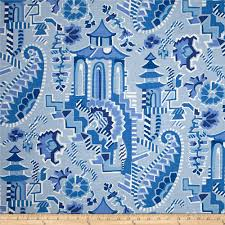 home accent forbidden city novelty blue willow from fabricdotcom