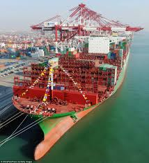 world u0027s largest container ships sets off on maiden voyage from