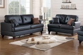 Genuine Leather Sofa Sets Poundex F6876 2 Pcs Black Genuine Leather Sofa Set