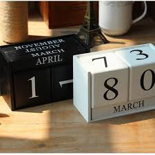 Office Desk Tidy Chic Wooden Calendar Home Decoration Ornament Study Office Desk