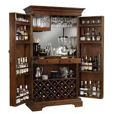 furniture tall bar cabinet with doors and mirrored wall interior
