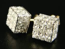 big diamond earrings cube big diamond stud earrings in 10k yellow gold