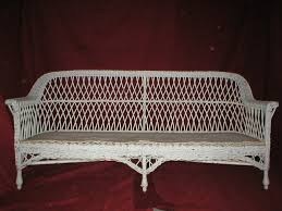 white antique wicker sofa after repairs before painting yelp