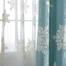 Snowflake Curtains Christmas Fabric Blackout Curtains Elegant Drapes For Living Room Panels